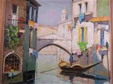 Oil on canvas Venetian scene with gondola bears