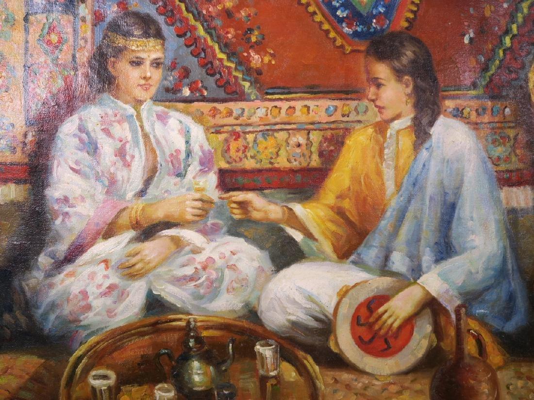 Oil on canvas, two Middle Eastern women taking tea in