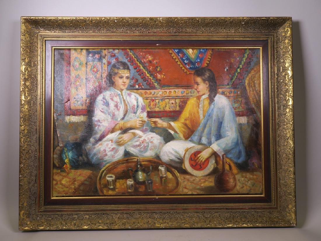 Oil on canvas, two Middle Eastern women taking tea in - 2