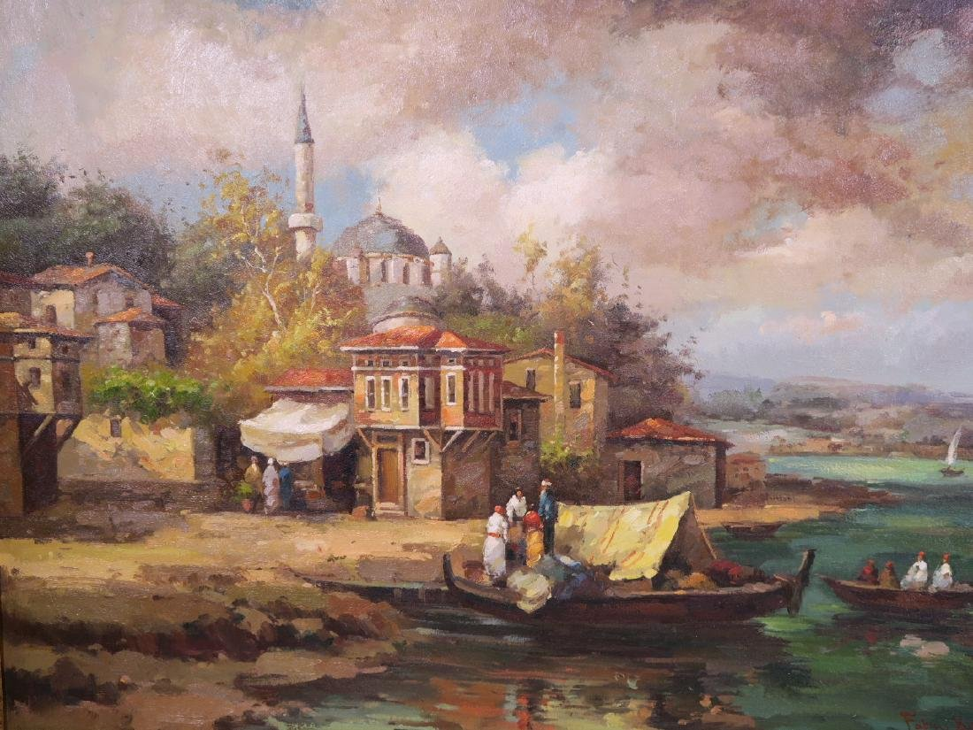 Oil on canvas, Turkish riverside with a mosque and