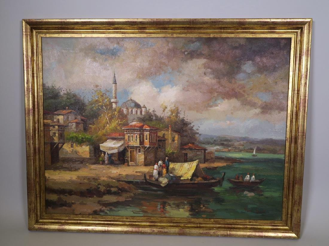 Oil on canvas, Turkish riverside with a mosque and - 2