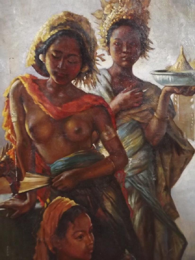 An oil on canvas, three Balinese women, signed 'W.G.