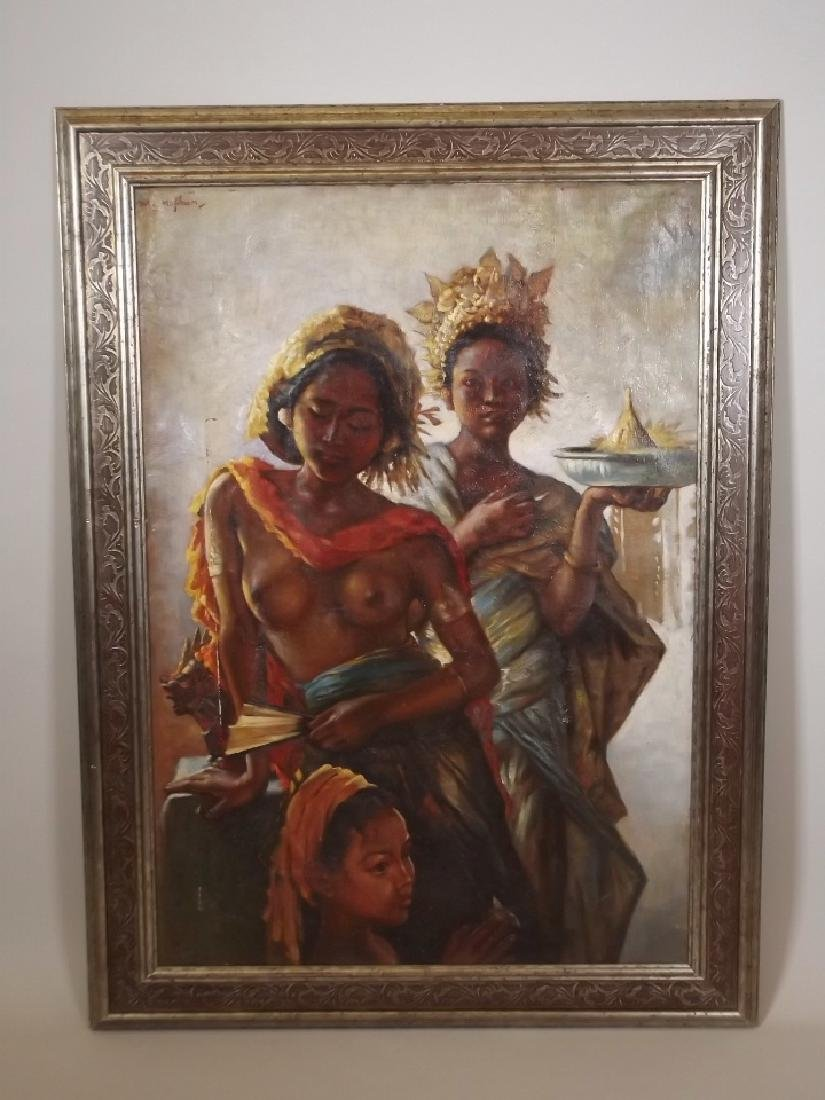 An oil on canvas, three Balinese women, signed 'W.G. - 2