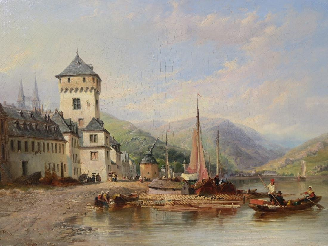T.S. Robins, oil on canvas, 'View of Boppard on the