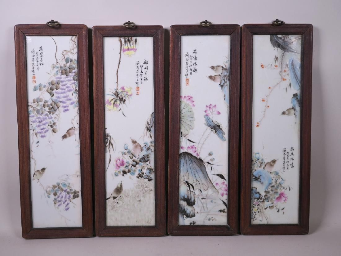 A set of four Chinese polychrome porcelain panels
