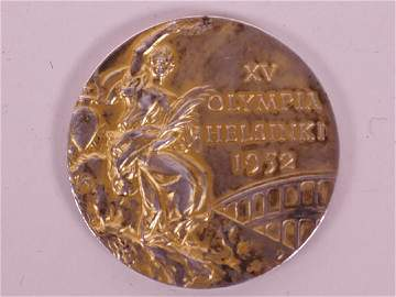 A 1952 Helsinki Olympic Games gold medal, designed by