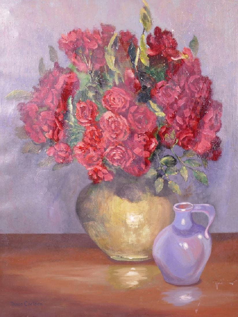 After Dines Carlsen, oil on canvas, still life of a