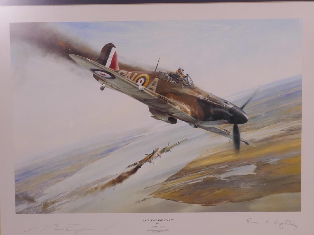 A framed Robert Taylor print 'Battle of Britain VC'