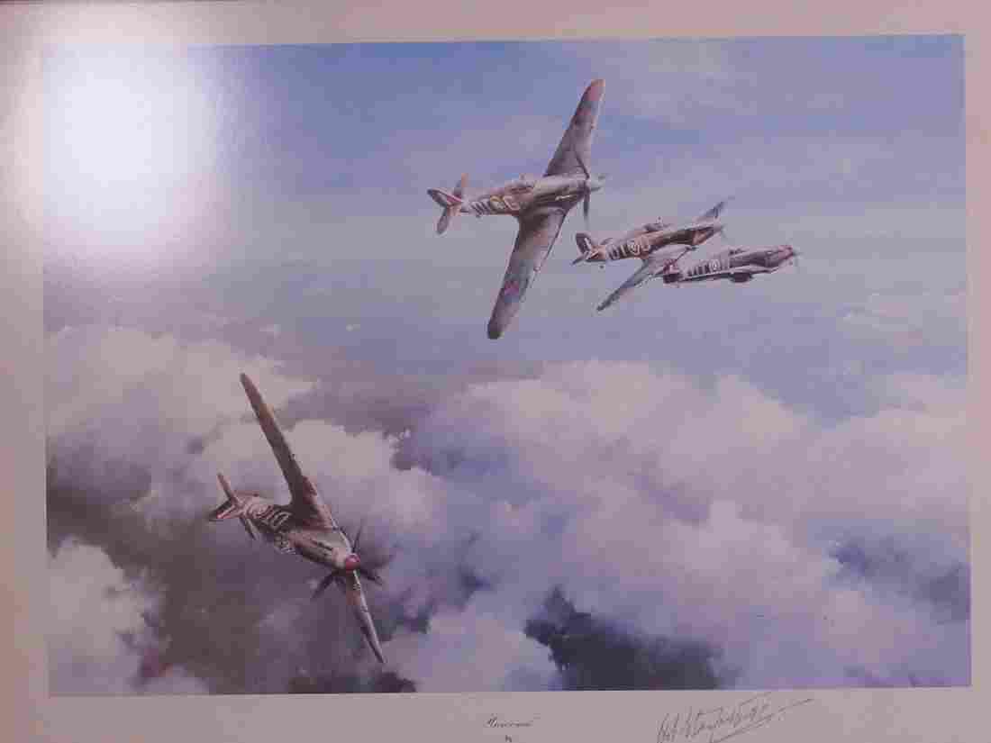A framed Robert Taylor print 'Hurricane' signed in