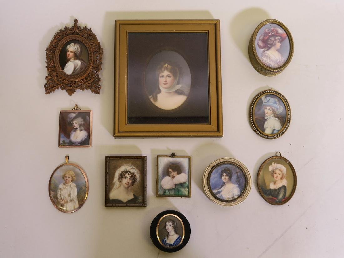 A collection of 11 miniature portraits, dating from the