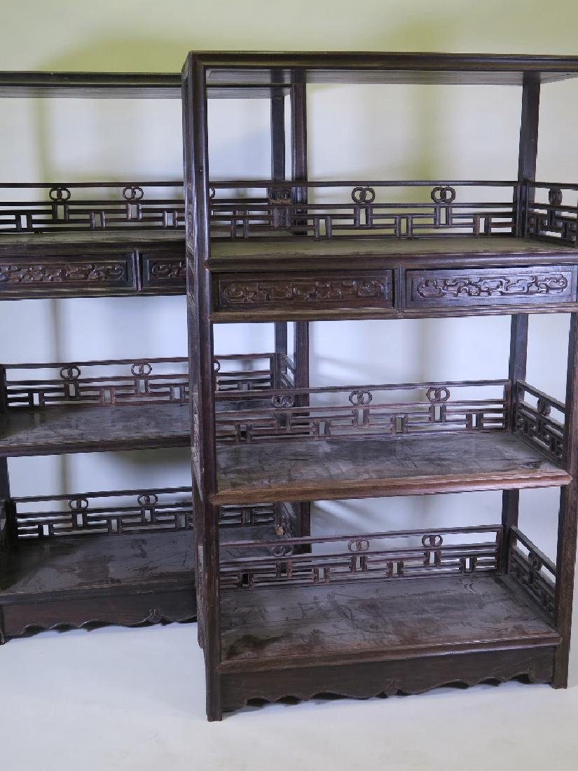 A pair of late C18th or early C19th Chinese Zitan wood