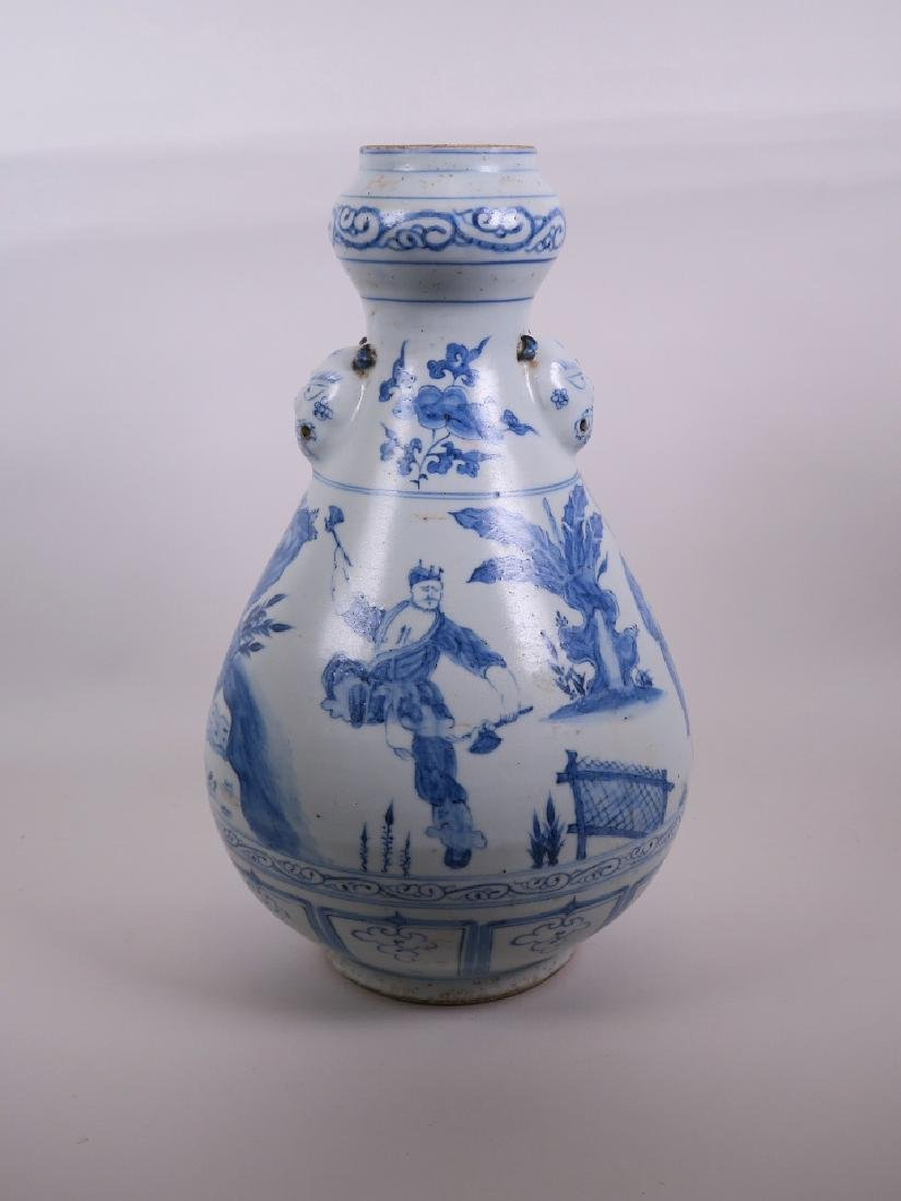 A large Chinese Ming style blue and white pottery vase