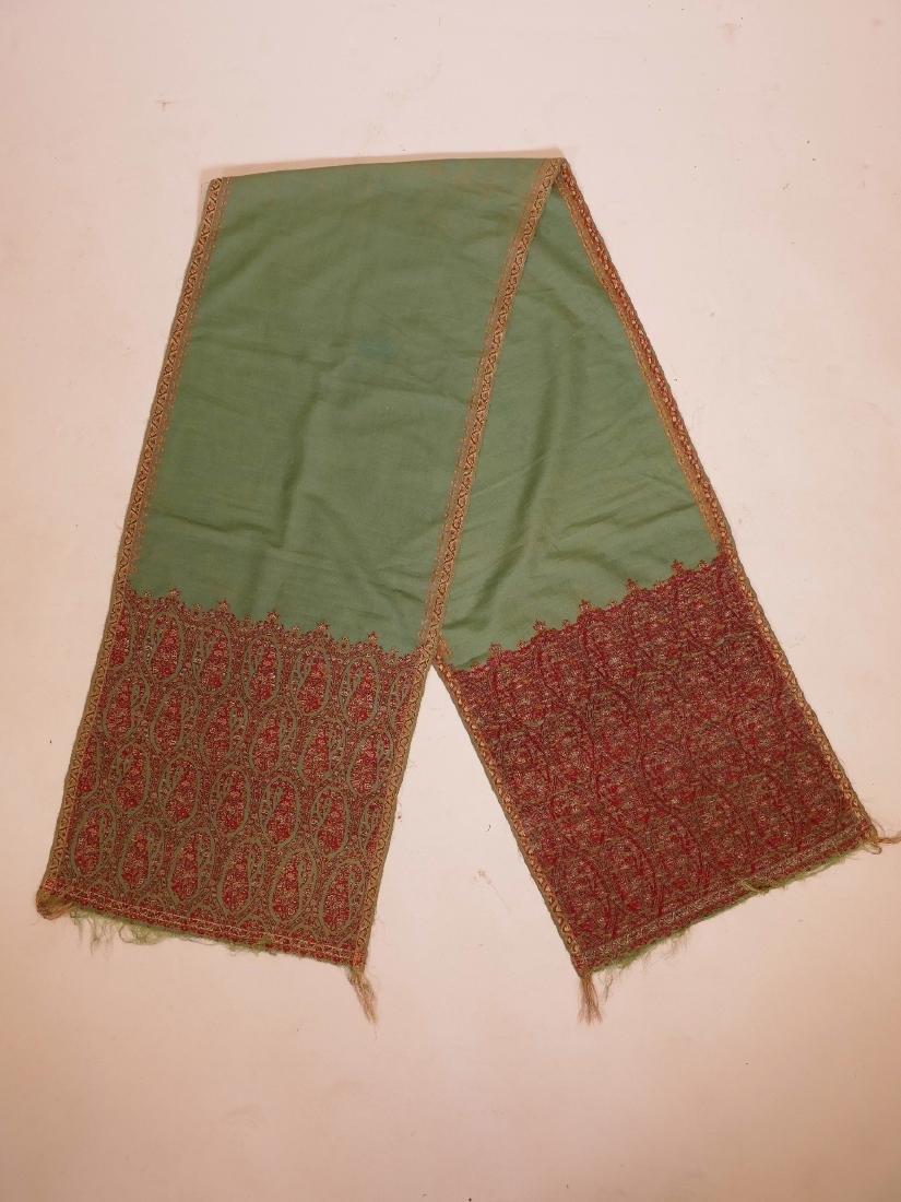 "A C19th Indian Jumawar fabric shawl, 87"" long,"