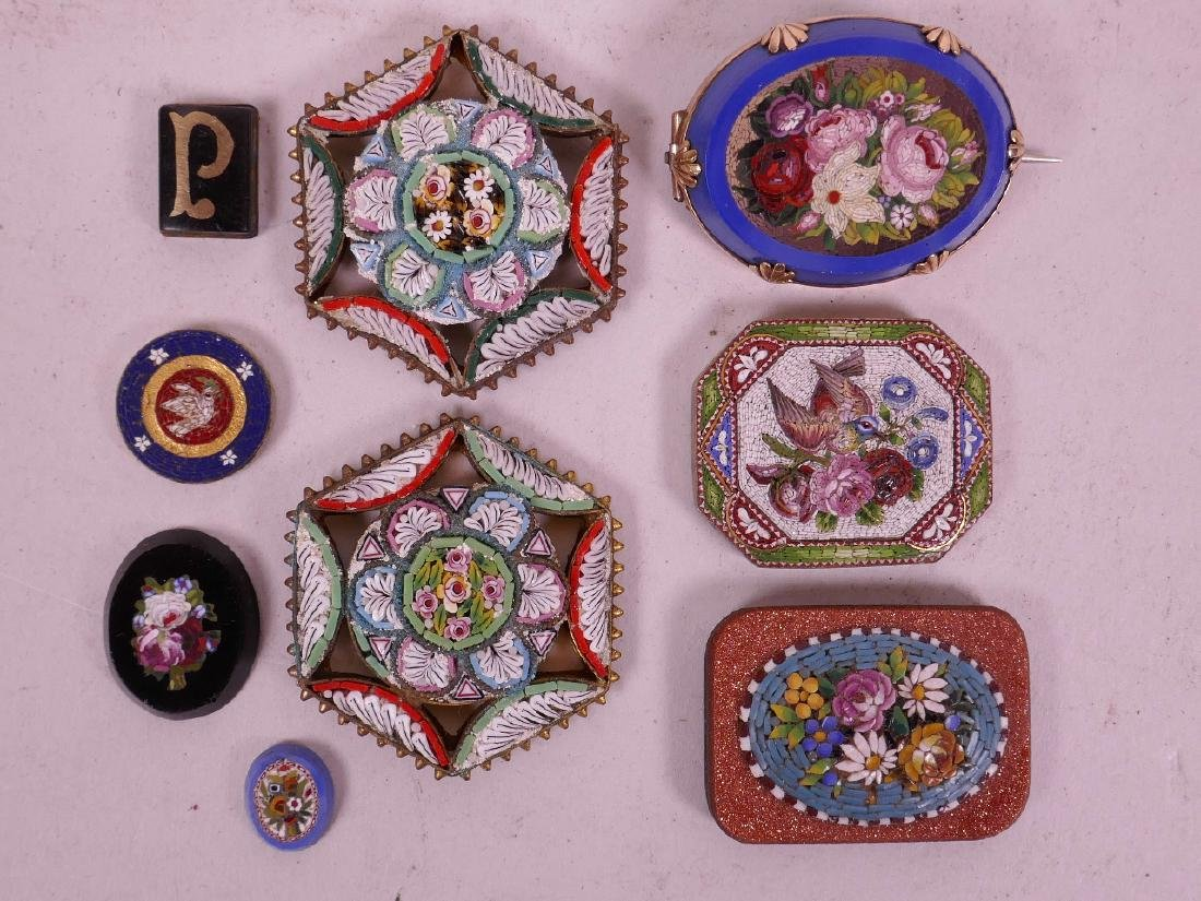 A collection of micro mosaic, including a gold plated