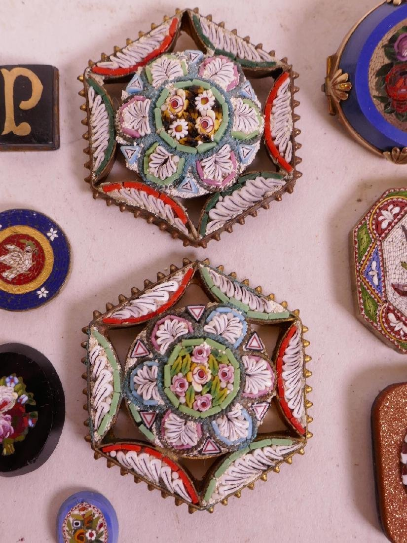A collection of micro mosaic, including a gold plated - 4
