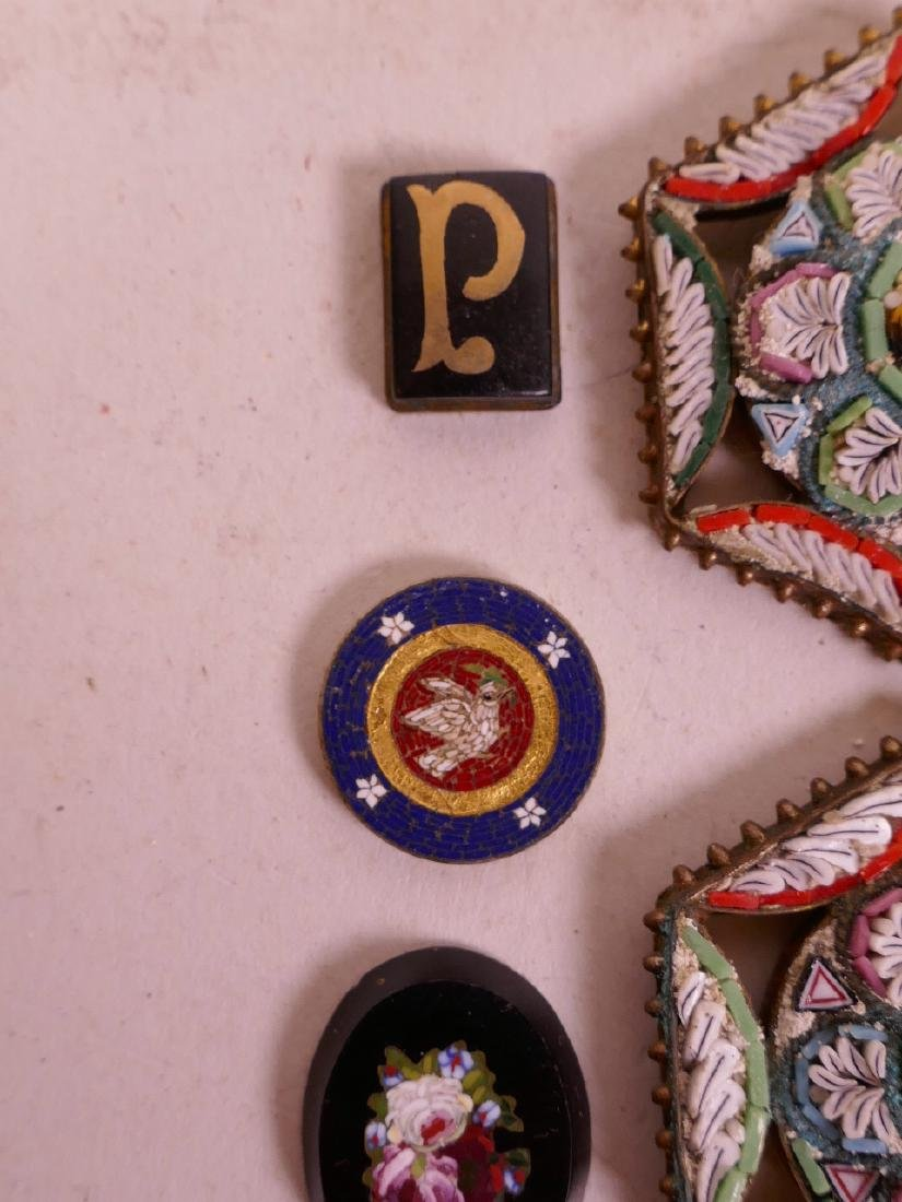 A collection of micro mosaic, including a gold plated - 5