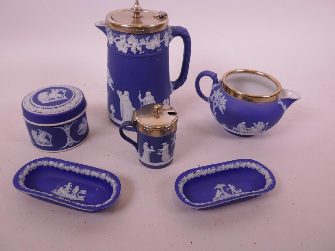 Wedgwood Jasperware, a water jug with silver plated rim