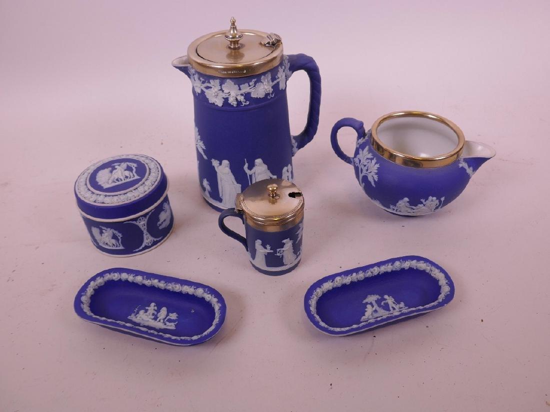 Wedgwood Jasperware, a water jug with silver plated rim - 2