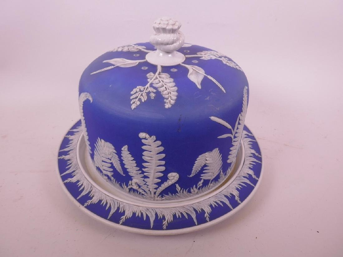 A Jasperware porcelain stilton dish and stand with