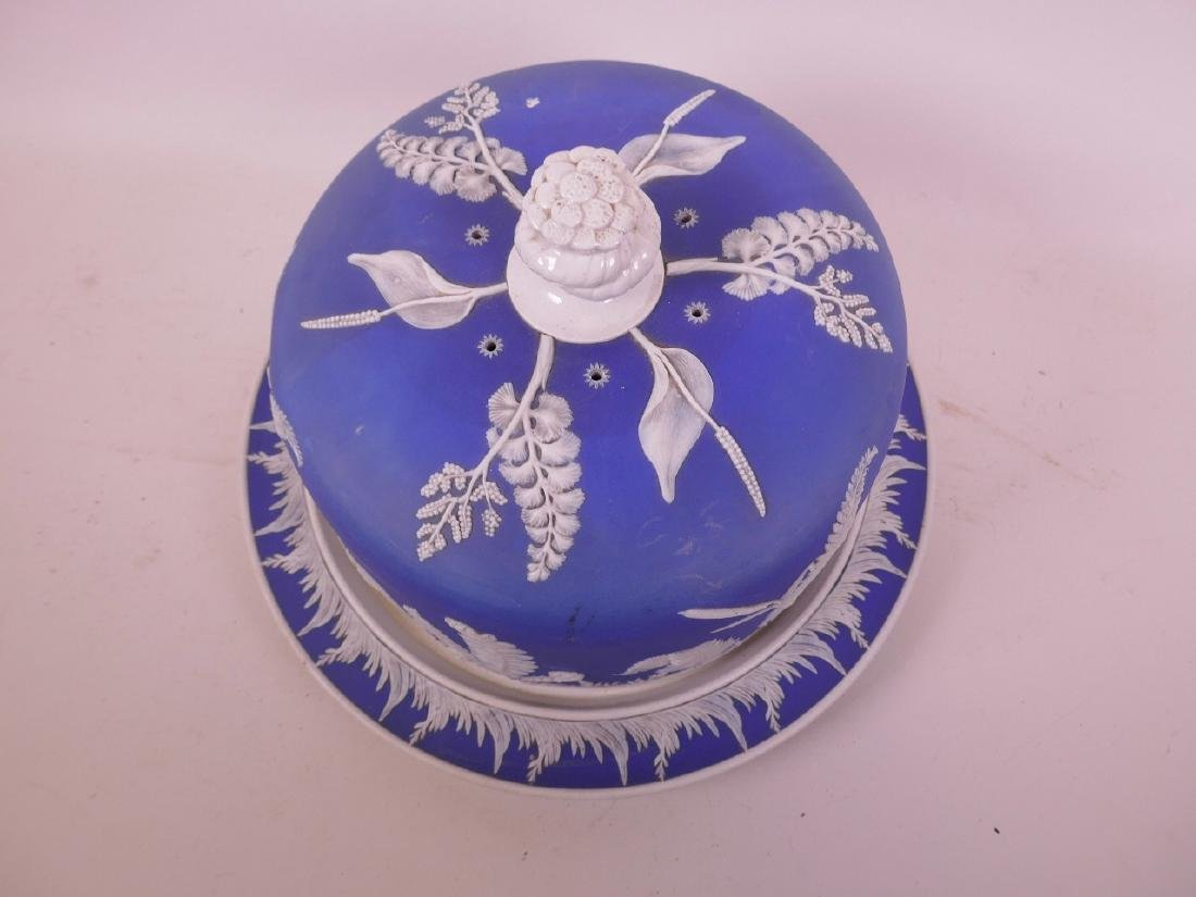 A Jasperware porcelain stilton dish and stand with - 2