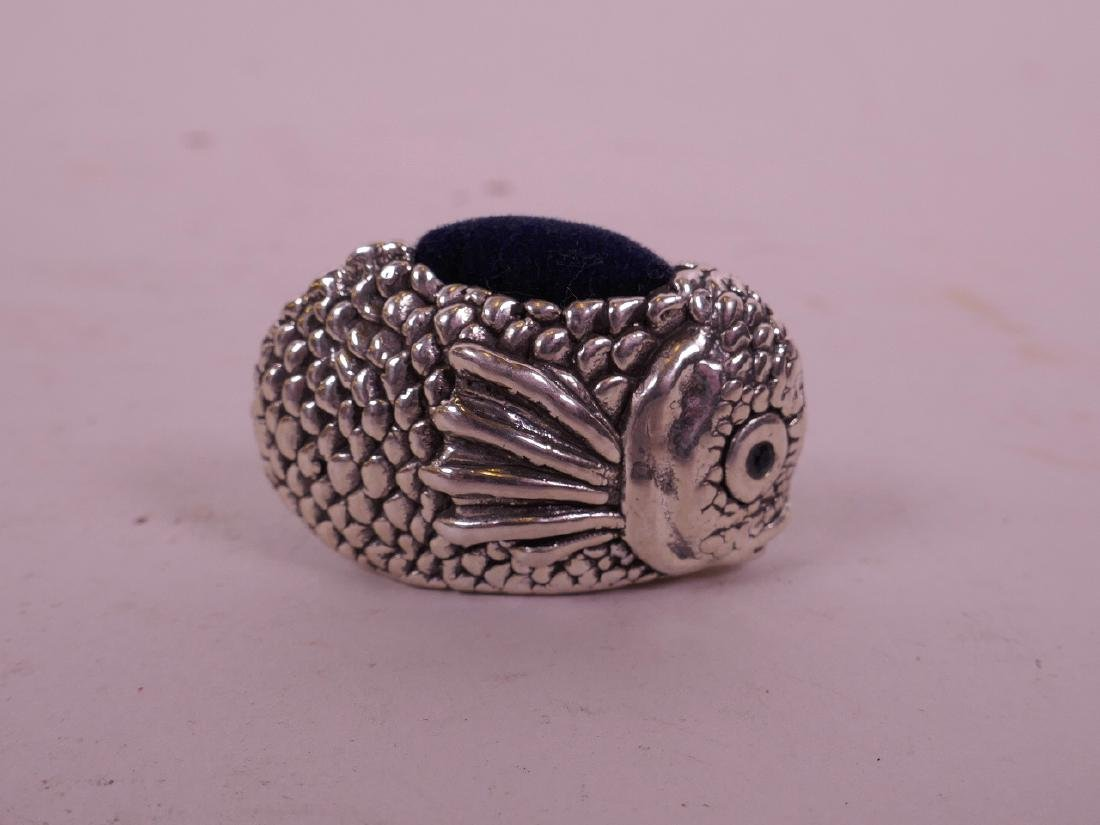 """A silver pin cushion in the form of a fish, 1 1/2"""" long - 2"""