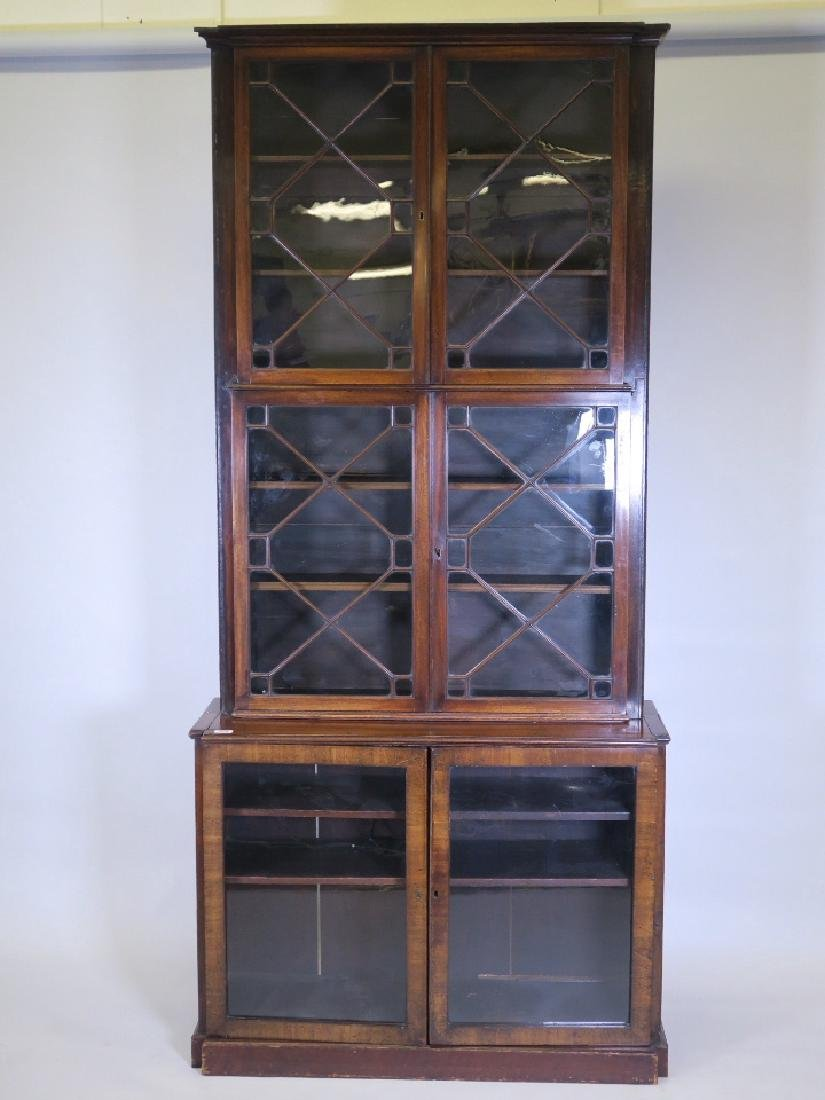 A mahogany astragal glazed two section bookcase