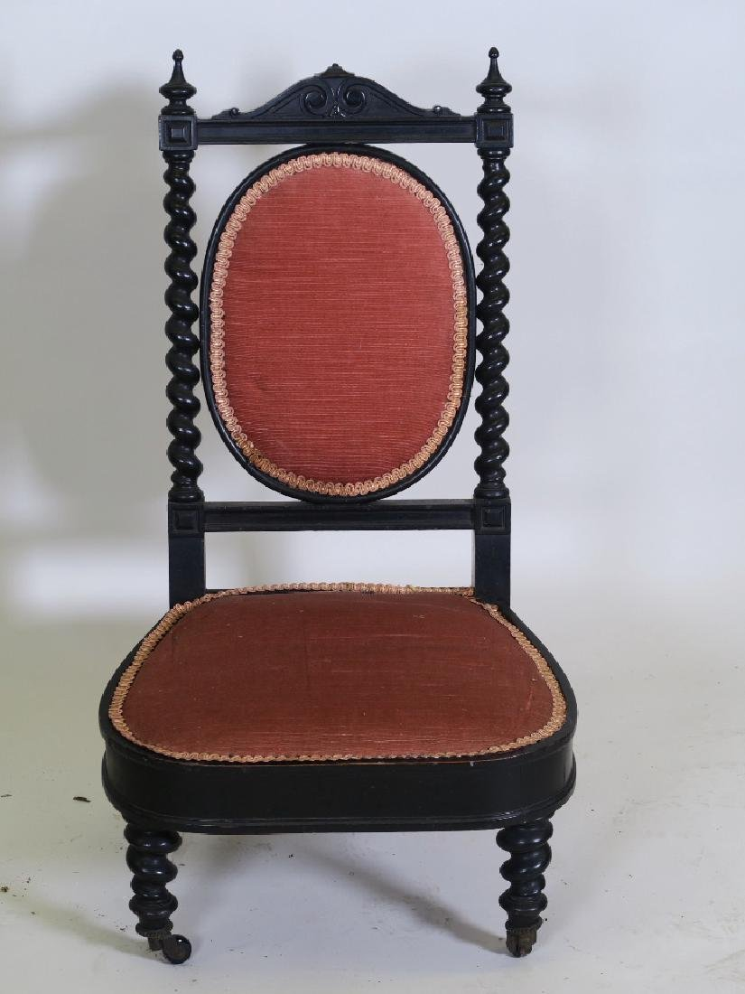 A C19th continental ebonised parlour chair, with carved - 2