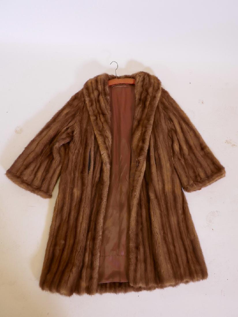 A good lady's vintage mink coat, monogrammed S.M. to