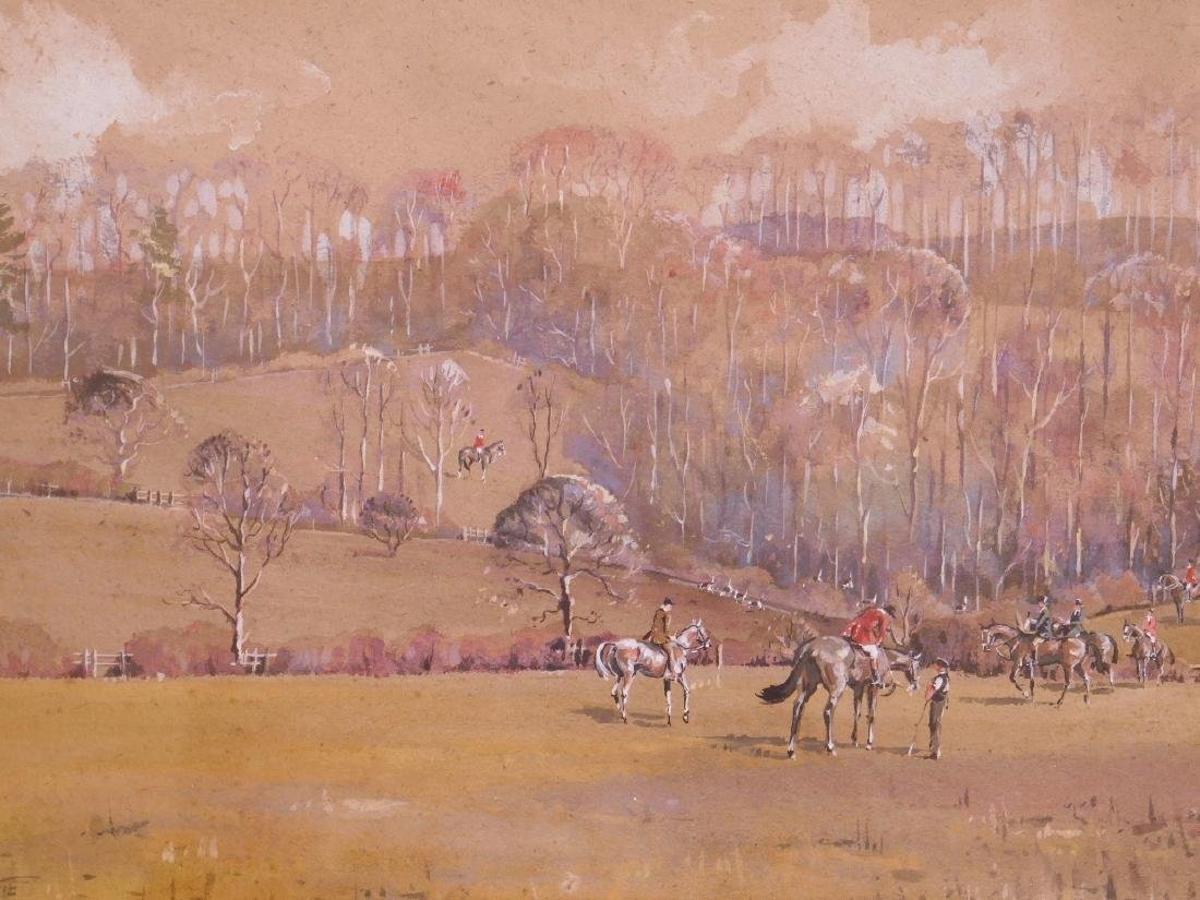 A framed watercolour and bodycolour, huntsmen with