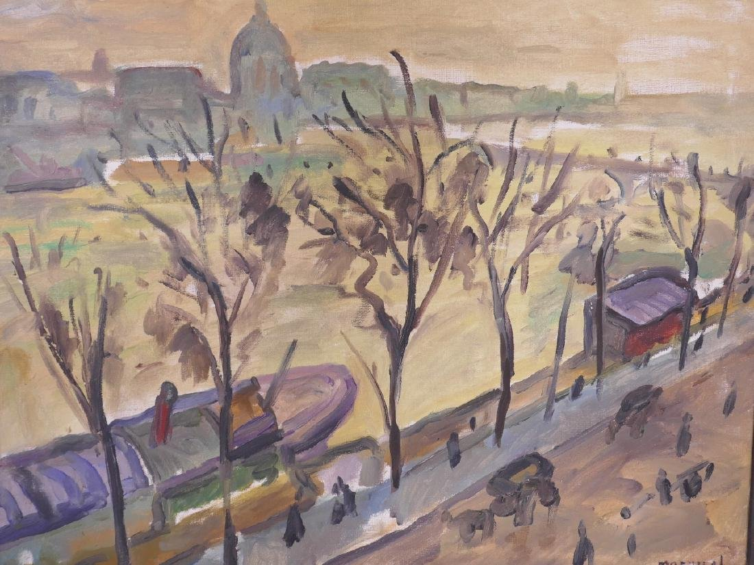 A naive style oil on canvas, view of the Seine,