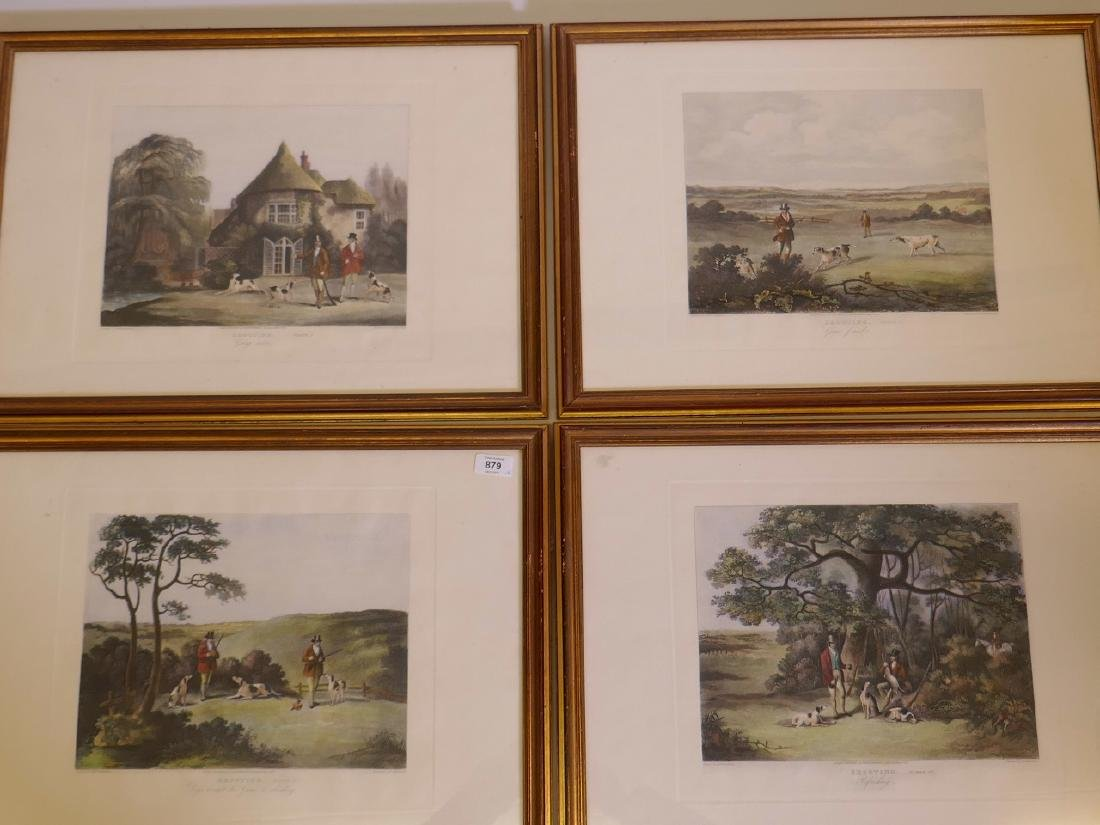 A set of four late C19th/20th hand coloured engravings,
