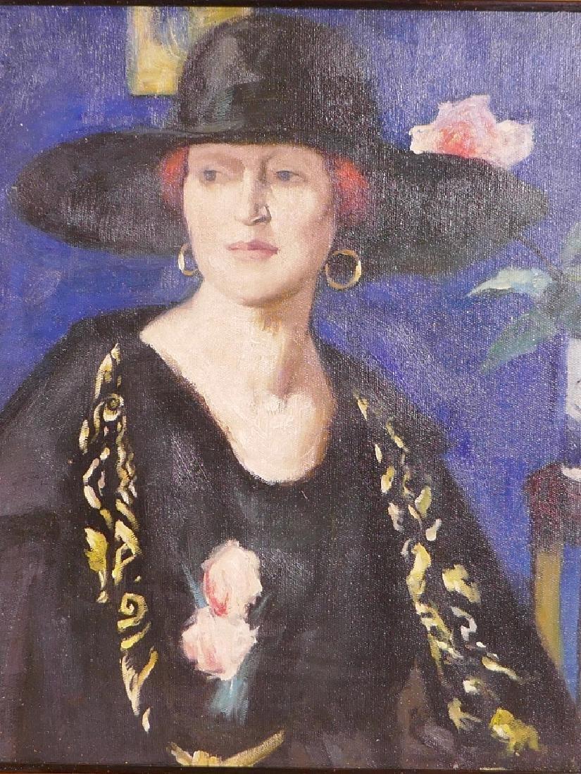 An oil on canvas board, Glasgow school, portrait of a