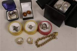 A collection of costume jewellery including silver and
