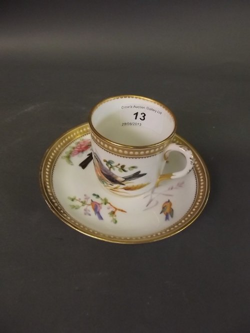 A fine C19th Royal Worcester cabinet cup and saucer