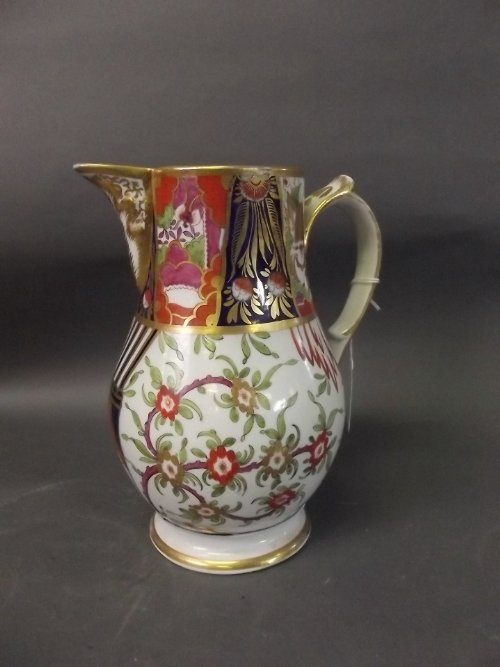 A late C18th/early C19th Derby porcelain jug painted in