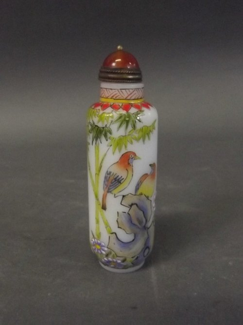 A Chinese painted Peking glass scent bottle, 3½'' high