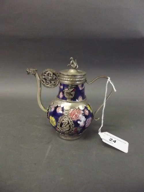 A Chinese white metal mounted pottery teapot with