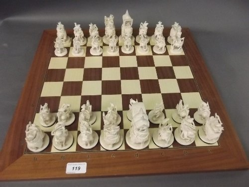 A fine early C20th Indian carved ivory chess set with