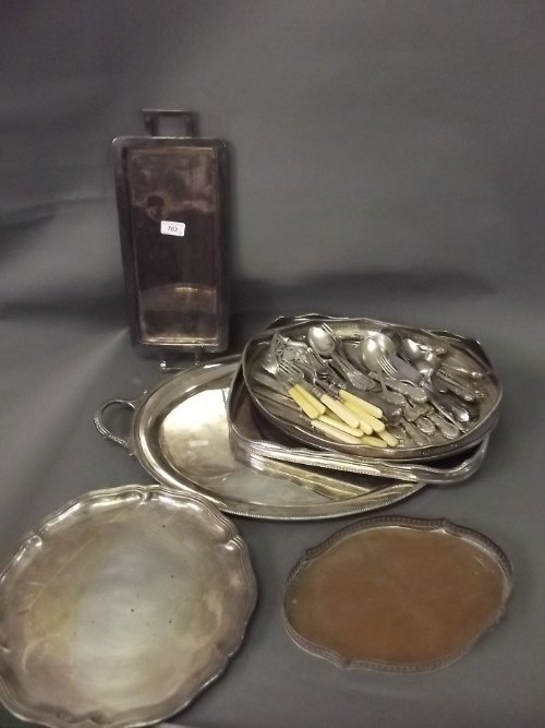 A quantity of silver plated flatware, trays, etc