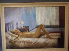 A large French oil on board, mid C20th, reclining nude,