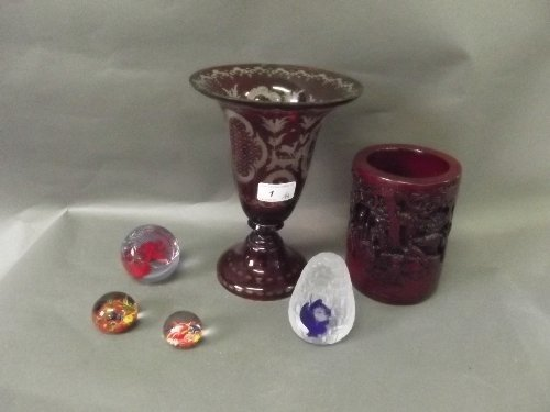 A Bohemian etched ruby glass vase decorated with a deer