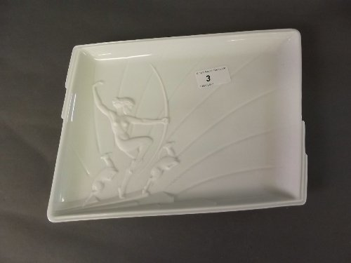 A Franz porcelain shaped tray decorated with a maiden w