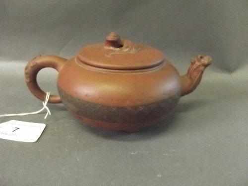 A good Chinese Yixing pottery teapot, seal mark to base