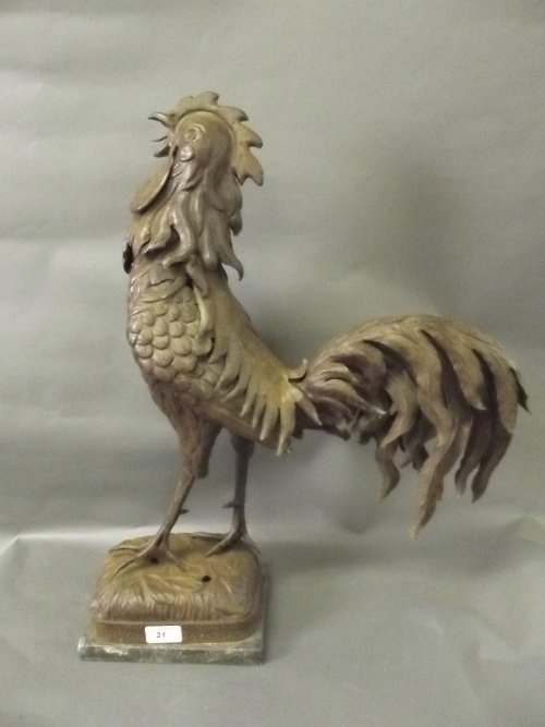 A large early C20th French patinated metal model of a c