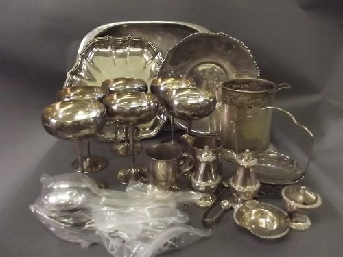 A quantity of silver plated items to include salvers, g