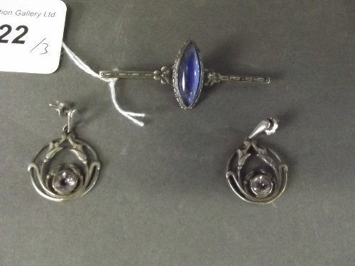 A pair of Art Nouveau silver stone set earrings, and a