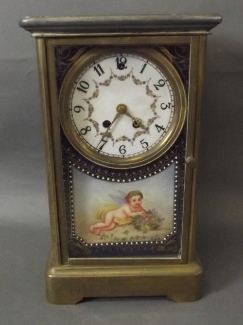A C19th brass desk clock with blue ground ceramic