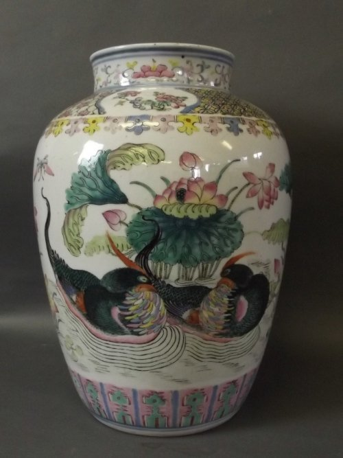 A large Chinese vase painted with ornamental ducks and