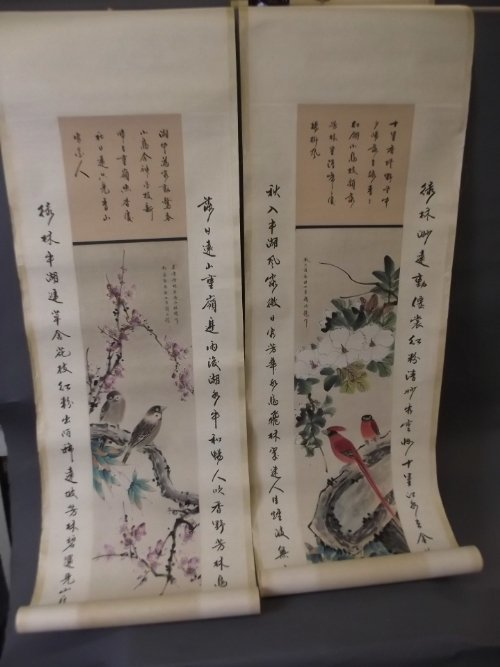 A pair of Chinese scrolls with painted birds and