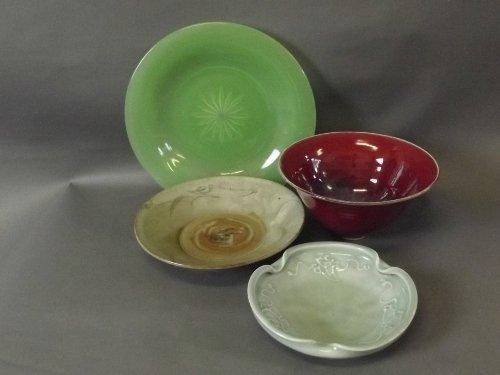 A flambe glaze steep sided bowl, a Peking glass plate,